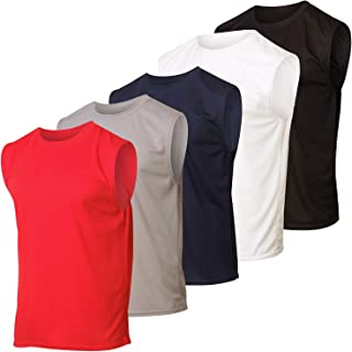 Real Essentials 5 Pack: Men's Mesh Active Athletic Tech Tank Top - Workout & Training Activewear