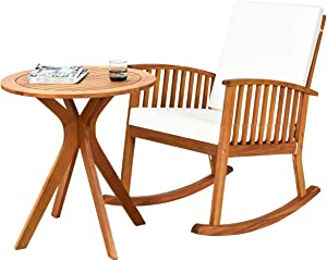 Tangkula 2 PCS Patio Bistro Set, Outdoor Acacia Wood Rocking Chair with Round Table, Rocking Chair with Thick Cushion of Detachable Cover, Rocking Chair Set for Outdoor Indoor Patio Backyard, Teak