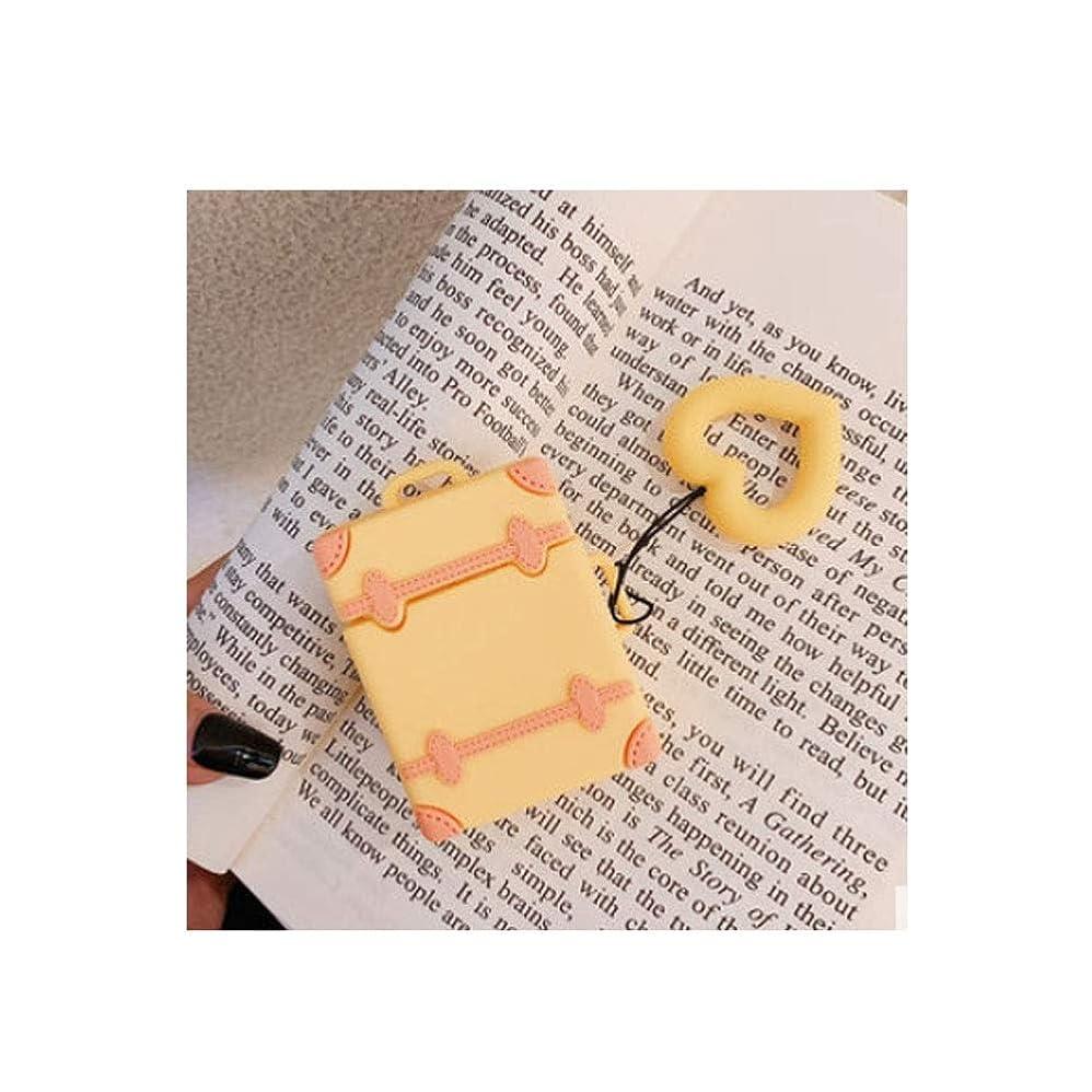 強いますかまど微生物Youshangshipin001 ヘッドホンカバー、レトロスーツケーススタイルAirPodイヤホンセット、落下防止シリコンペンダントクリエイティブファッションスタイル(ベージュ、から選ぶべき色の多様性) シンプルでかっこいい (Color : Yellow)