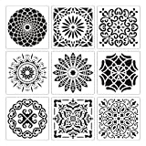 🎨Painting & Drawing Aids: 9 pieces of different mandala stencil in large size (12 x 12 inches) creative sheets for craft, painting and home decor. Larger mandala dotting template tools are suitable for the stenciled floors, and also will look nice on...