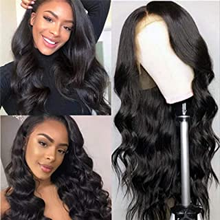 Hepoiss Lace Front Human Hair Wigs Pre Plucked Hairline Bleached Knots 150% Density Brazilian Body Wave Lace Front Wigs with Baby Hair Natural Color (12 inch, 13x4 lace front wig)