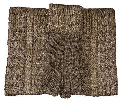 Michael Kors Sparkle Schal und Handschuh, Kamel/Gold