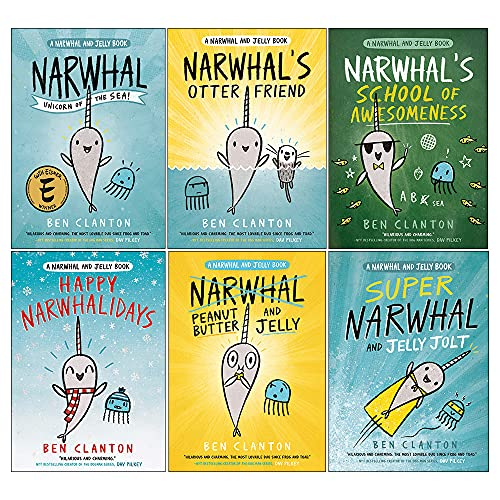 Narwhal and Jelly Series 6 Books Collection Set By Ben Clanton(Otter Friend, Unicorn of the Sea, Super Narwhal and Jelly Jolt, Peanut Butter and Jelly, Happy Narwhalidays, School of Awesomeness)