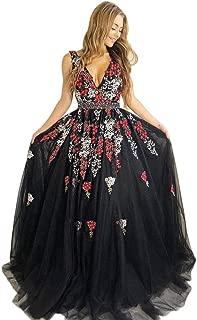 Jonlyc Women's V Neck Sleeveless Beaded Appliques Tulle Long Prom Formal Evening Dress