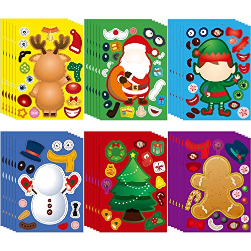 36 Pieces Christmas Make Your Own Stickers Craft DIY Games Sheet Stickers for Kids Santa Snowman Reindeer Elf Gingerbread Man Xmas Tree Party Supplies Children Activities Favors Decorations