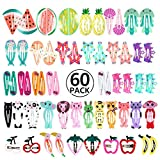 60pcs Pinza de Pelo, PAMIYO Metal Multicolor Pelo Horquillas Diseño de Dibujos Animados Y Fruta Accesorios Cabello para Niñas Infantiles