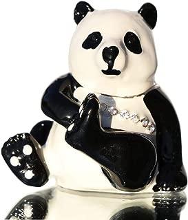 Waltz&F Cute Panda Hinged Trinket Box Bejeweled Hand-Painted Ring Holder Animal Figurine Collectible
