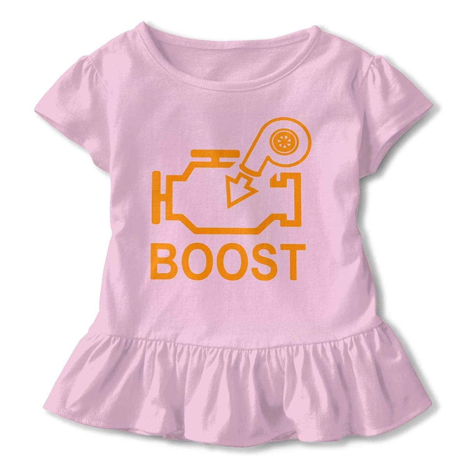 SDHEIJKY Boost Check Engine Light - Turbo Toddler Girls Ruffle T-Shirt Short-Sleeved Round Collar Clothes for 2-6T