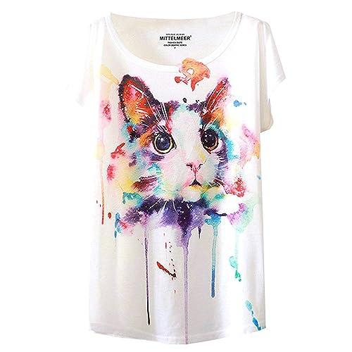 5960707c0 futurino Women's Cute Cat Graphic Abstract Paint Splatter Casual T-Shirt Top