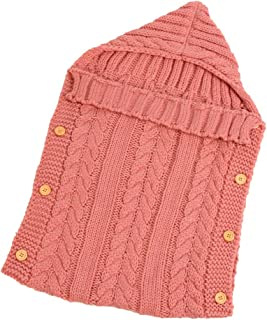KINDOYO Infant Sleeping Bag - Outdoor Cute Infant Knit Button SleepingSacks 70CM/0~1 Years,Light Pink