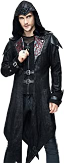 Punk Men Jackets Faux Leather Steampunk Gothic Swallowtail Coats Autumn Winter Long Hooded Coats Overcoat