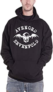 Avenged Sevenfold Hoodie Bat Skull Band Logo Official Mens Black Pullover