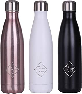 Capture the Blue Stainless Steel Water Bottle (17 oz.) Double-Wall, Vacuum Insulated | Leakproof, Screw-On Lid | Hot & Cold Temperature Retention Up to 12 Hours | Gym, Travel, Fitness Use