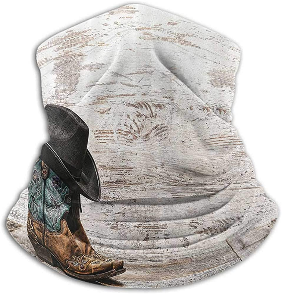 Neck Gaiters for Men Western Decor Creative Personality Custom Scarf Traditional Rodeo Cowboy Hat and Cowgirl Boots in a Retro Grunge Background Art Photo Brown Black