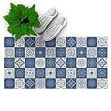 DON LETRA Alfombra Vinílica para Salón, Dormitorio y Cocina - Diseño de Baldosas Azules - 80 x 40 x 0.2 cm, ALV-003