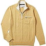 【INTERMEZZO】インターメッツォ カシミヤ混 ケーブル編みジュエルニット(セーター) 黄色 size 2L