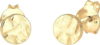 Elli Boucles d'Oreilles Small rondes en argent (5 mm) avec clou d'oreille en argent sterling martelé 925 pour femmes,