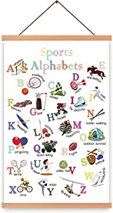 Natural Wood Magnetic Hanger Frame Poster-Sport Alphabet Art Print, Sporting Athlete Painting, Balls Wall Art ,ABC Alphabet Canvas Poster For Classroom Nusery Decor,28X45cm Frames Hanging Kit