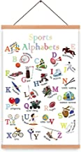 Natural Wood Magnetic Hanger Frame Poster-Sport Alphabet Canvas Art Sporting Prints Athlete Painting, Balls Wall Art Poste...