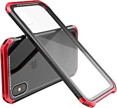 iPhone X Case i-Luphie [Dragon Series] 3 in 1 Aluminum PC / [iPhone X Screen Protector] Scratch-Resistant Clear Glass Backing [Military Drop Tested][Red]