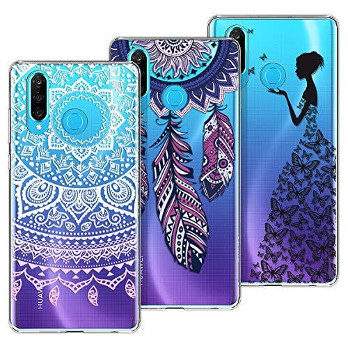 KOTPARX für Huawei P30 Lite Hülle Silikon Transparent Durchsichtig Handyhülle Schutzhülle TPU Ultra Dünn Slim Kratzfest mit Muster [3 Pack] - Mandala + Traumfänger + Mädchen Schmetterling
