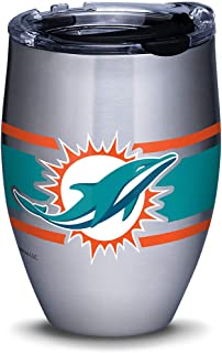 Tervis 1317553 NFL Miami Dolphins Stripes Insulated Travel Tumbler with Lid, 12oz - Stainless Steel, Silver