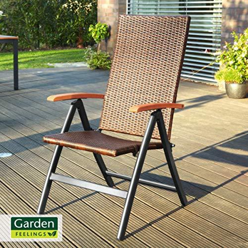 Garden Feelings Geflecht-Klappsessel Aluminium-Gestell, pulverbeschichtet Kunststoffgeflecht