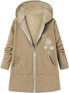 Coat Womens Print Zipper Hooded Jacket Plush Inside Thicker Warm Parka