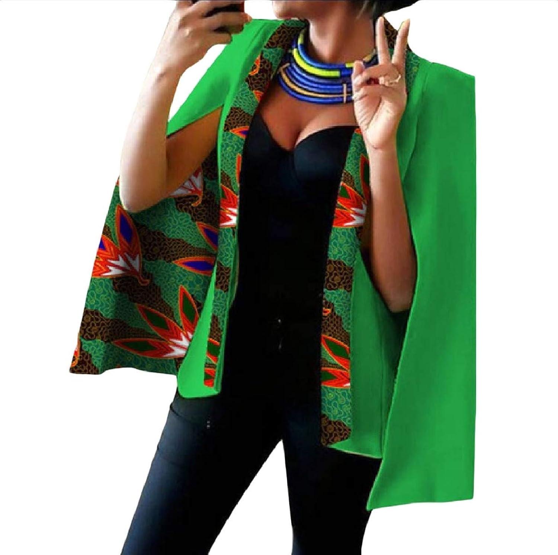 ROHEP Women Shawl Dashiki Inner Contrast Blazer OpenFront Welt Jacket