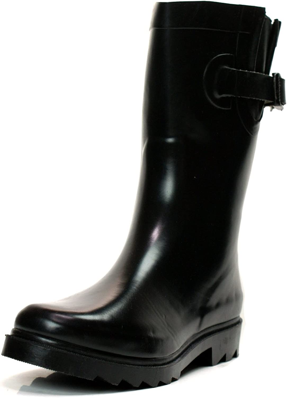Ownshoes Women's Short Black color Garden Fashion Rain Boot Wellington Wellies
