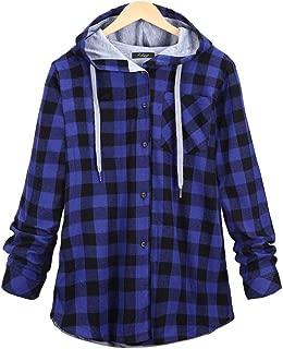 Howely Womens Casual Slim Plaid Hoodie Plus-Size Coat Jacket
