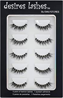 DESIRES LASHES  Multipack Demi Wispies Fake Eyelashes 5Pairs Per Kits, 01 Monday