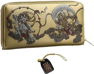 風神雷神 メンズ ラウンド ウォレット 和柄 和彫り 財布 国宝 日本製 金運 根付 進呈