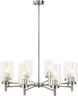 VINLUZ Contemporary 8-Light Large Chandeliers Modern Clear Glass Shades Pendant Lighting Brushed Nickel Dining Room Lighting Fixtures Hanging Adjustable Wire Semi Flush Mount Ceiling Lights