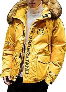 Jofemuho Mens Plus Size Faux Fur Lined Hoodie Thermal Down Coat Jacket Overcoat