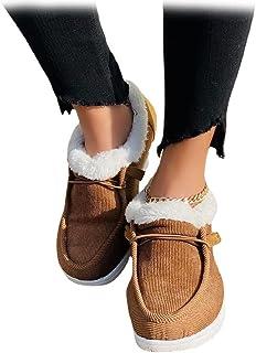 Bottes d'hiver pour femmes, chaussures de marche orthopédiques à plateforme confortable, chaussures de cheville doublées e...