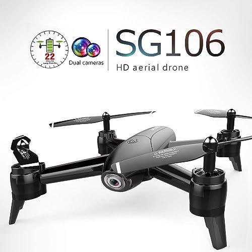 ETC KART RC Quadcopter Flux Optique HD 1080P Double caméra Dron Temps réel Vidéo aérienne RC Drone RTF Drones Toys Aircraft Enfant in Stock Sg106 (1080 Noir 3 Batterie)