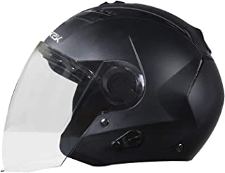 Steelbird SBA-3 R2K Classic Open Face Helmet (Medium 580 MM, Black with Plain Visor)