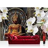 Vlies Fototapete 312x219cm PREMIUM PLUS Wand Foto Tapete Wand Bild Vliestapete - Orchideen Tapete Blumen Blüten Orchideen Buddah Muster gold - no. 3021
