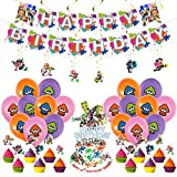 Splatoon Party Decorations, Splatoon Theme Party Supplies Birthday Decorations for Boys Girls with Happy Birthday Banner, Latex Balloons Cake Topper, Hanging Swirl Decorations