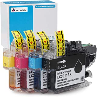 Allwork LC3011 Compatible Ink Cartridges Replacement for Brother LC3013 LC3011 Ink Works with Brother MFC-J491DW Brother MFC-J497DW Brother MFC-J690DW Brother MFC-J895DW Printer 4 Packs (KCMY)