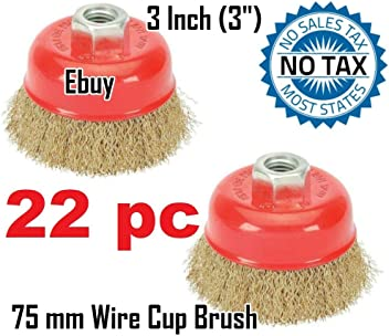 """For Angle Grinders Wheel 22PC 3/"""" x 5//8/"""" 11 NC FINE Knot Wire Cup Brush Twist"""