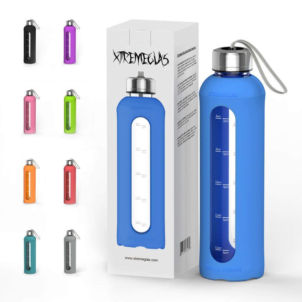 Botella de agua de vidrio de 32 onzas con tapa de silicona a prueba de fugas,