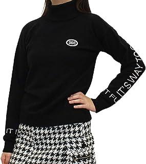 7599 BK L 袖ロゴタートルネックニット ブラック L 大きいサイズ デルソル ニット ゴルフ ゴルフウェア レディース