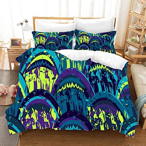 Bedclothes-Blanket Juego de sabanas Cama 150,Cubierta de Almohada 3D New Shark Four Seasons Universal-3_230 cm × 220cm
