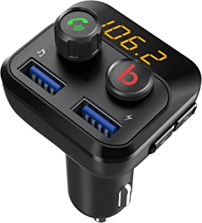FM Transmitter with Bass Booster, Bluetooth 5.0 FM Transmitter Wireless Radio Adapter, FM Transmitter LED Display