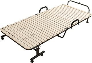 アイリスプラザ 折りたたみベッド 桐 すのこ 31枚 通気性 折りたたみ収納可 ナチュラル 幅98×奥行208.5×高さ44.5cm