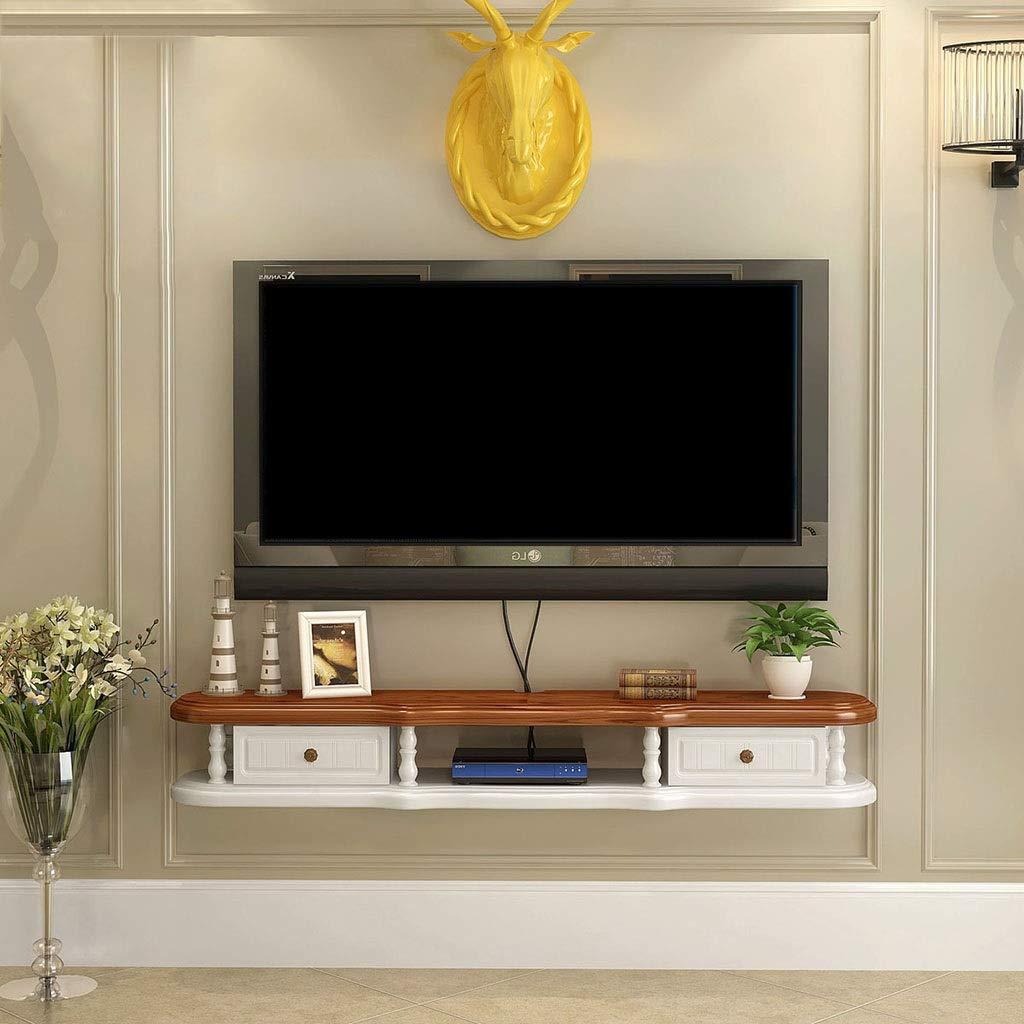 LXYFMS Mueble de Estante para televisor en Rack montado en la Pared Estante de Juegos de Consola de Entretenimiento Multimedia con 2 cajones Muebles para el hogar Bastidor de enrutador: Amazon.es: Hogar