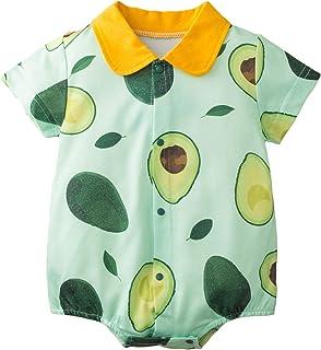 Rehomy Baby Strampler Kleinkind Rundhals Overall Baby Neugeborene Party Kleidung Einteiler Avocado Gedruckt Bodysuit