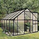 vidaXL Invernadero de aluminio gris antracita 5,89 m²